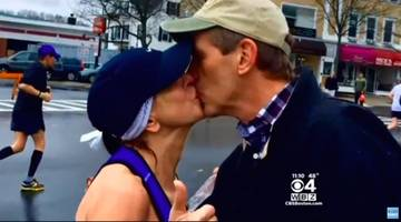 Boston Marathon Runner Who Searched For Stranger She Kissed Gets Letter From His Wife (VIDEO)